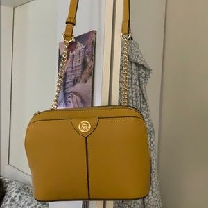 Cross body purse mustard color